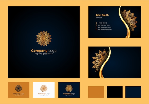 Logo design inspiration, luxus kreisförmige blumen mandala und blatt element, luxus visitenkarte design mit dekorativen logo