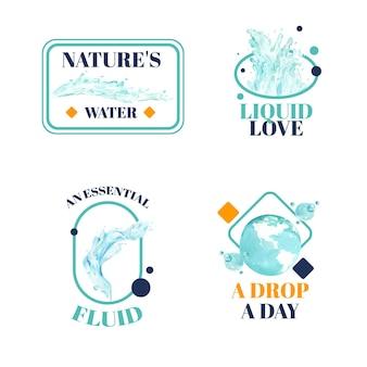 Logo-design mit aquarellillustration des weltwassertageskonzepts