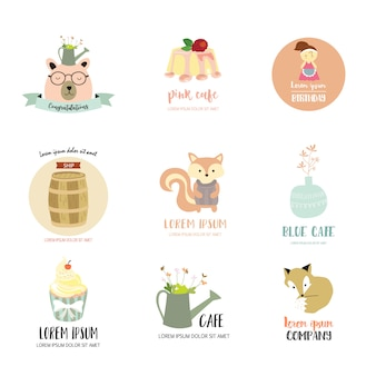 Logo-design mit bär, fuchs, kuchen, eichhörnchen, mädchen und blume