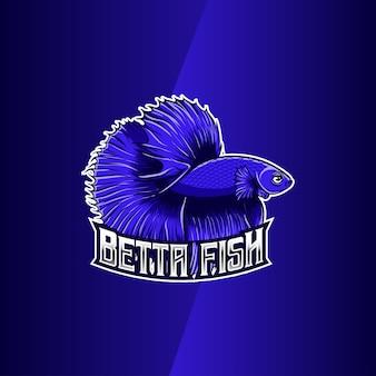 Logo-design mit blauem betta-fisch-charakter