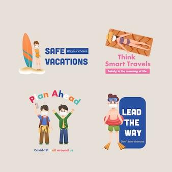 Logo-design mit covid-19-präventionskonzept für branding und marketing.