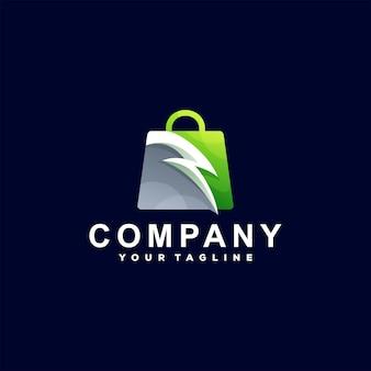 Logo-design mit farbverlauf der einkaufstasche