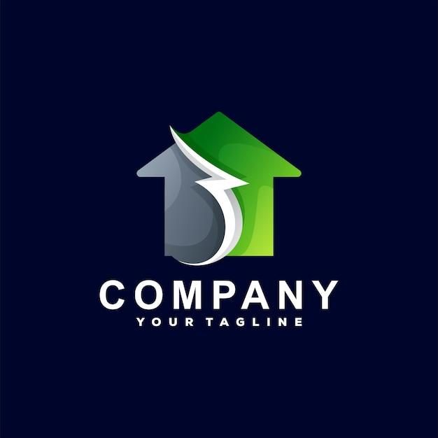 Logo-design mit farbverlauf des hauses