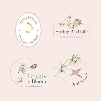 Logo-design mit frühlings- und vogelkonzept für das markieren und vermarkten der aquarellillustration