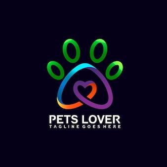 Logo-design mit fußabdrücken von haustieren