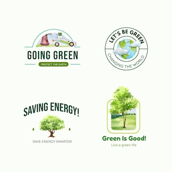 Logo-design mit grünem energiekonzept im aquarellstil