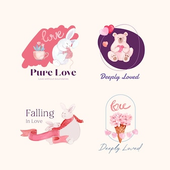 Logo-design mit liebevollem konzept für marken- und geschäftsaquarellillustration