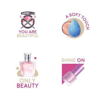 Logo-design mit make-up-konzept für branding und marketing aquarell.