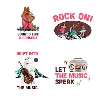 Logo-design mit musikfestival-konzeptdesign für das branding und marketing der aquarellvektorillustration