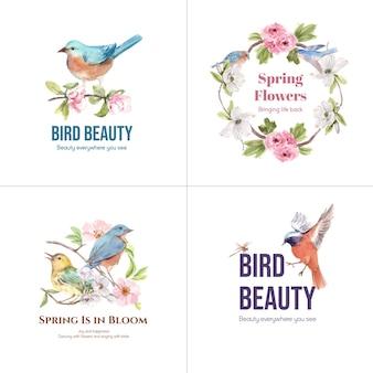 Logo-design mit vogel- und frühlingskonzept