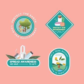 Logo-design mit weltumwelttag-konzept, aquarellstil