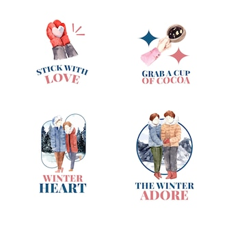 Logo-design mit winterliebeskonzept für marken-, marketing- und symbolaquarellvektorillustration