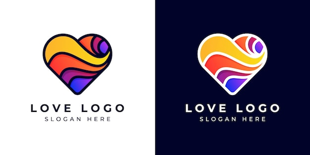 Logo design moderne liebe oder herz bunt oder farbverlauf
