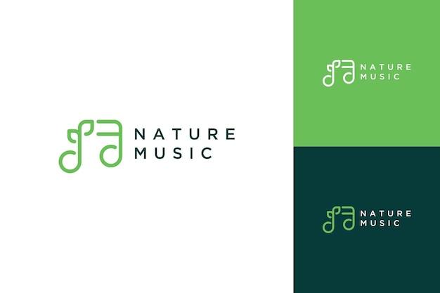 Logo design musik oder musikton mit pflanzensamen