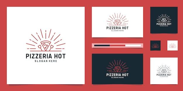 Logo design pizzeria heißes, italienisches pizzarestaurant.