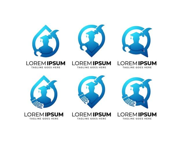 Logo-design-set für reparatur und wartung education