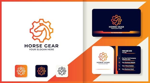 Logo-design und visitenkarte der pferdeausrüstungslinie
