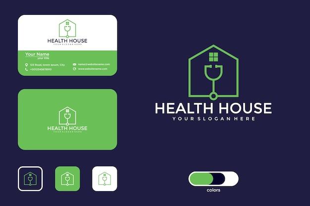 Logo-design und visitenkarte des gesundheitshauses