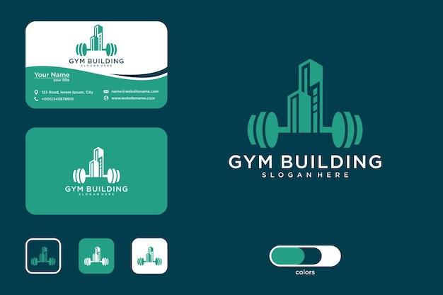 Logo-design und visitenkarte für fitnessstudio-gebäude