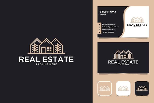 Logo-design und visitenkarte für immobiliengebäude