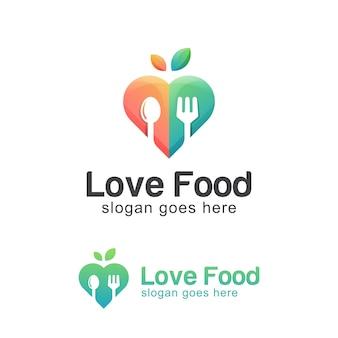 Logo-design von lieblings- oder liebesnahrung, liebesgemüselebensmittel