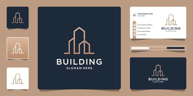 Logo-design-vorlage für den bau von immobilien. kreative linie kunst-logo-sammlung.