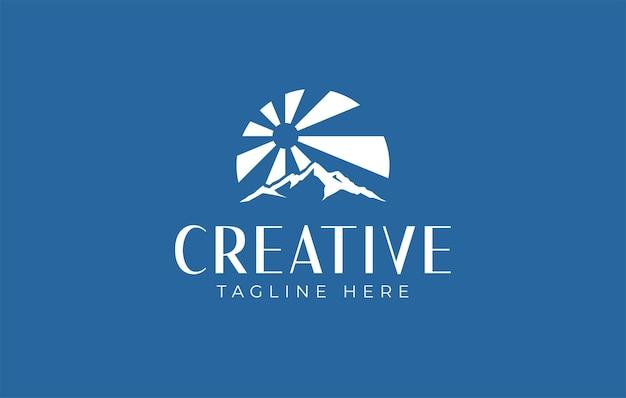 Logo-design-vorlage für die sonnenstrahlen der berge