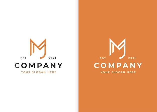 Logo-design-vorlage im buchstaben-m-linienstil