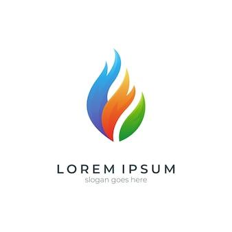 Logo-design-vorlage mit farbverlauf für feuer und blätter