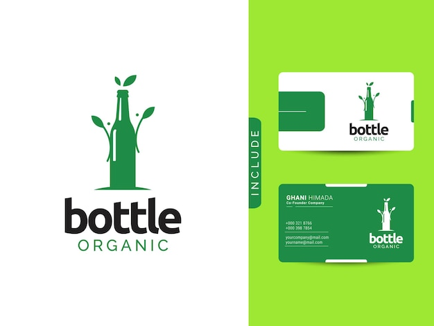 Logo-designkonzept für bio-flaschen