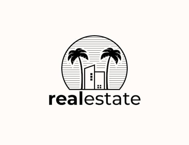 Logo-designvorlage für gebäude und palmenimmobilien