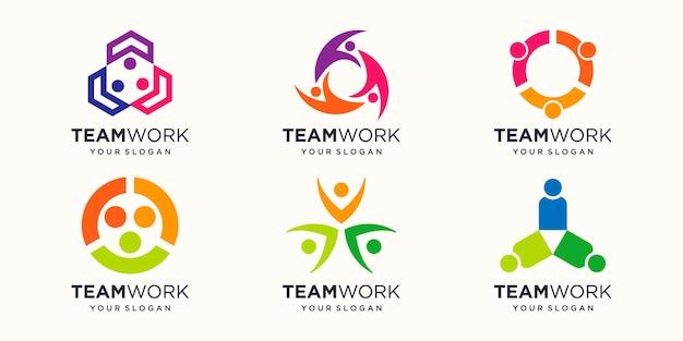 Logo-designvorlage für teamarbeit work