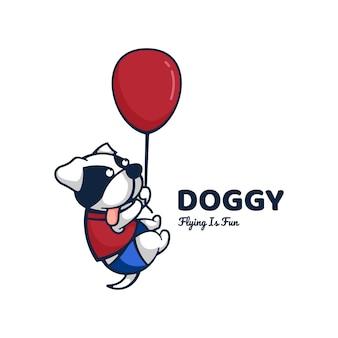 Logo doggy cute cartoon style.