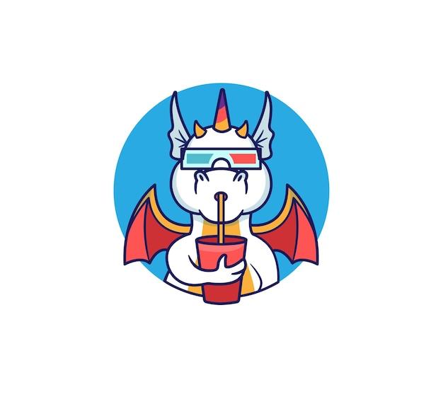 Logo drache sieht sich einen film an und nippt an einem drink. regenbogen-einhorn-monster.
