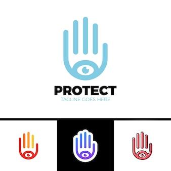Logo einer stilisierten hand mit augensymbol