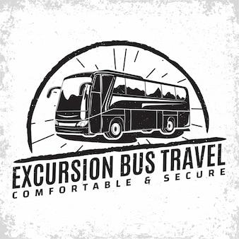Logo eines busreiseveranstalters, emblem des ausflugs oder der organisation eines touristenbusvermieters, druckmarken des reisebüros, emblem des bustypografie