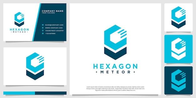 Logo eines sechseckigen meteors