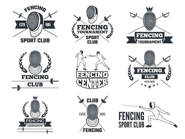 Logo eingestellt für das fechten des sports.