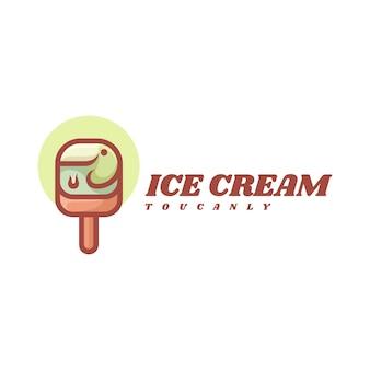 Logo eiscreme einfacher maskottchen-stil.