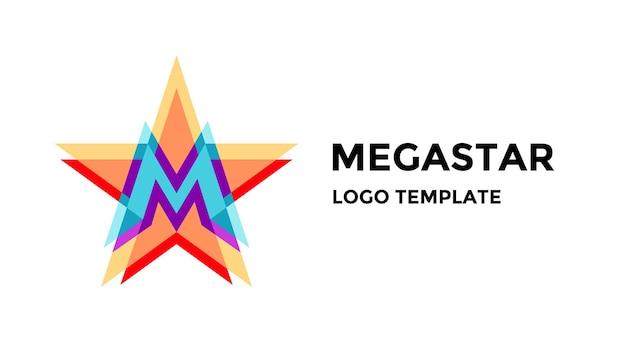 Logo, emblem, etikett mit buchstabe m. fünf-punkte-stern-logo mit buchstabe m