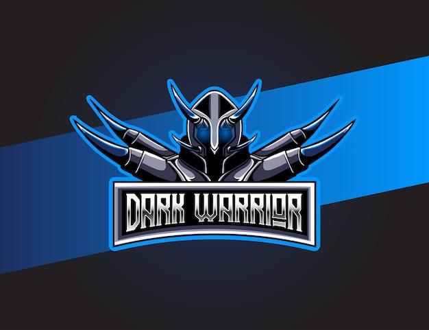 Logo esport mit dunklem krieger charakter symbol