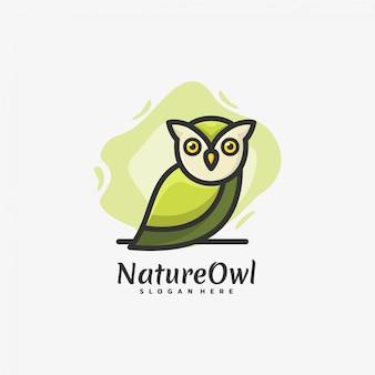 Logo eule nacht maskottchen cartoon style.