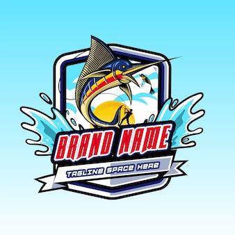 Logo fisch springt in haken
