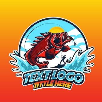Logo fischerei steinfisch springen in das wellenwasser