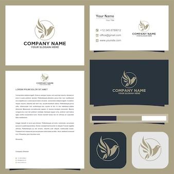 Logo-fliegenvogel im visitenkarten-premium-vektor