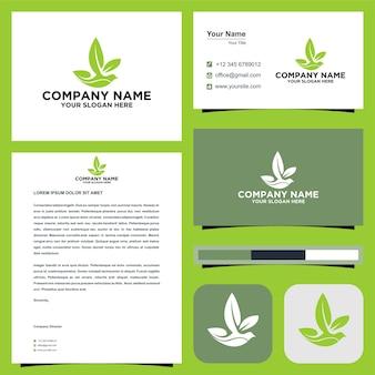Logo-fliegenvogel mit blattflügel oder naturblatt im visitenkarten-premium-vektor