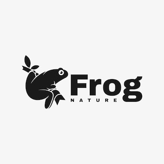 Logo frosch silhouette style.