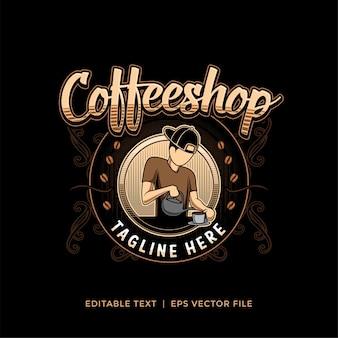 Logo für coffeeshop- oder kaffeeproduktdateiformat in eps