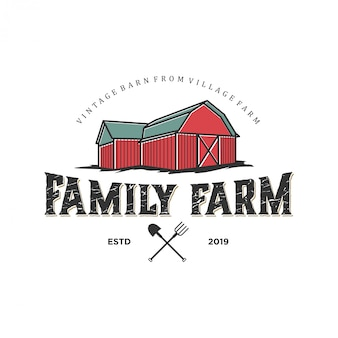 Logo für die agrarindustrie mit scheunenelement