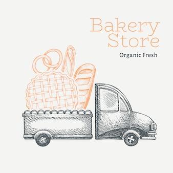 Logo für die lieferung der bäckerei. hand gezeichneter lkw mit brotillustration. vintage food design im gravierten stil.